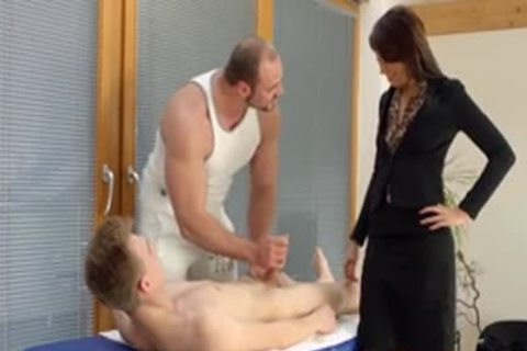 Bi lad butthole pounded three-some