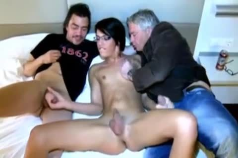 Two males With Beauty Ts brunette hair
