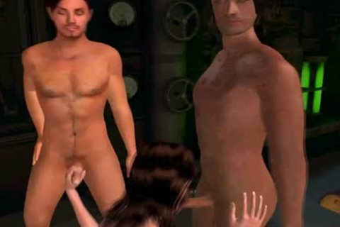 3D Cartoon sheboy playgirl Taking On A Pair Of ramrods