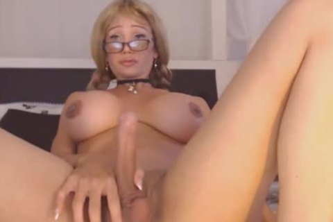 busty lady-man Strokes Her large cock On web camera