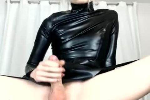 Trap Wears Latex And Shows big knob