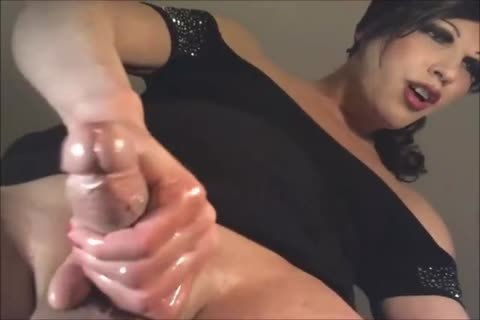 slutty transsexual Stroking Her Oily penis On Her web camera