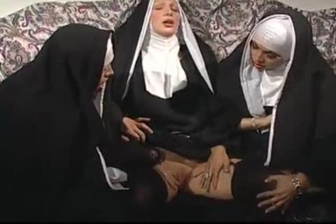 Two Nuns Are Comforting A Sister, But she do not Know They're Two concupiscent ladyboys!