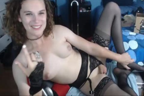 Short Hair Petite sheboy In black stockings web camera Solo