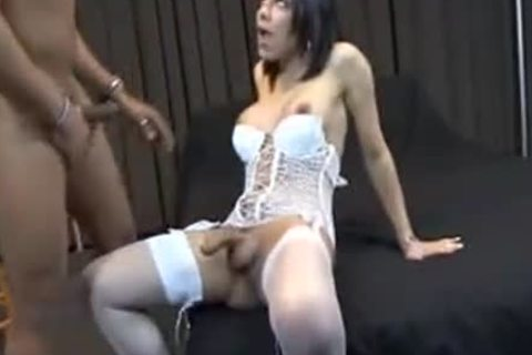 busty t-girl In White lingerie nailed Hard