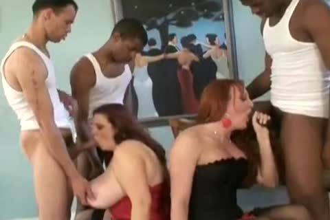 Ginger shemale three-some