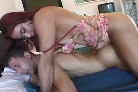 Redhead tranny acquires penis Sucked On The bed